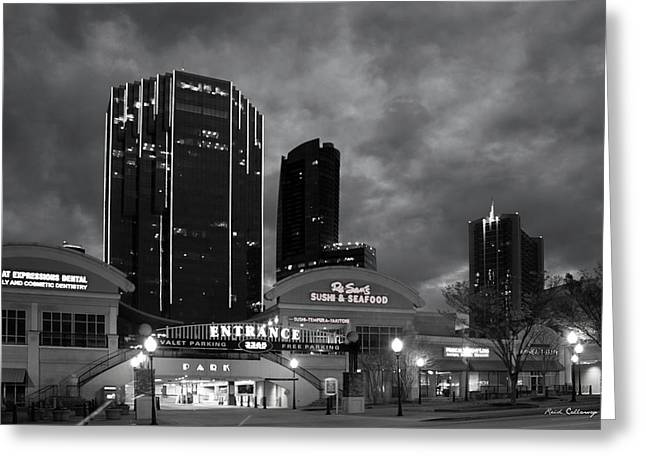 Wake Up Bw Tower Place 100 Buckhead Atlanta Art Greeting Card by Reid Callaway