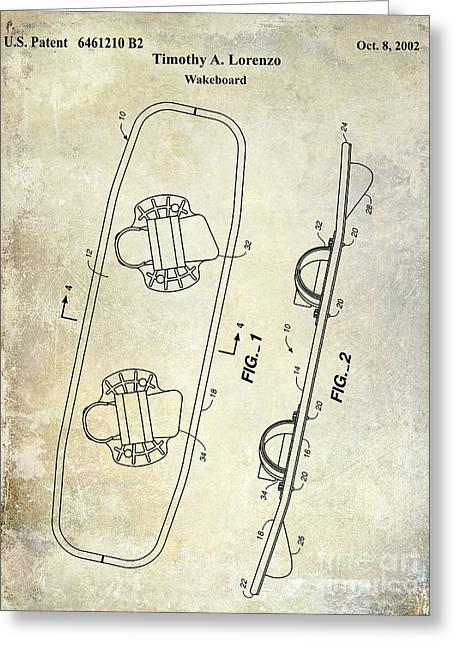 Wakeboard Patent Drawing Greeting Card by Jon Neidert