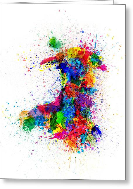 Wales Paint Splashes Map Greeting Card