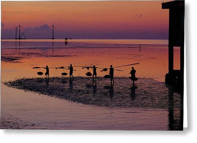 Walking On The Sea Greeting Card by Okan YILMAZ