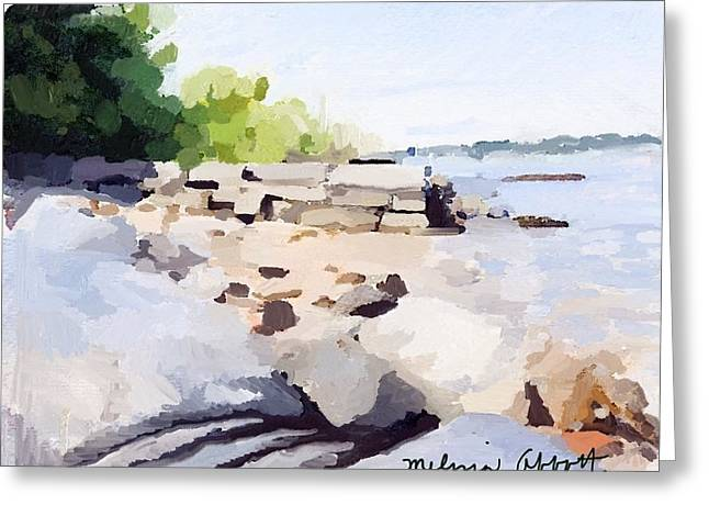 Wall And Beach At Ten Pound Island Greeting Card