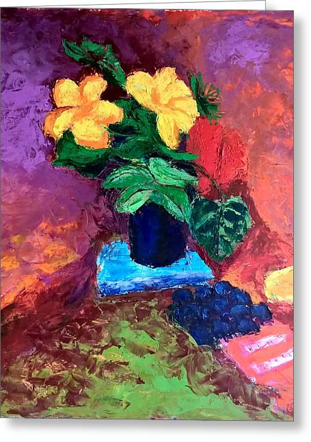 Greeting Card featuring the painting Warm Combination by Nicolas Bouteneff
