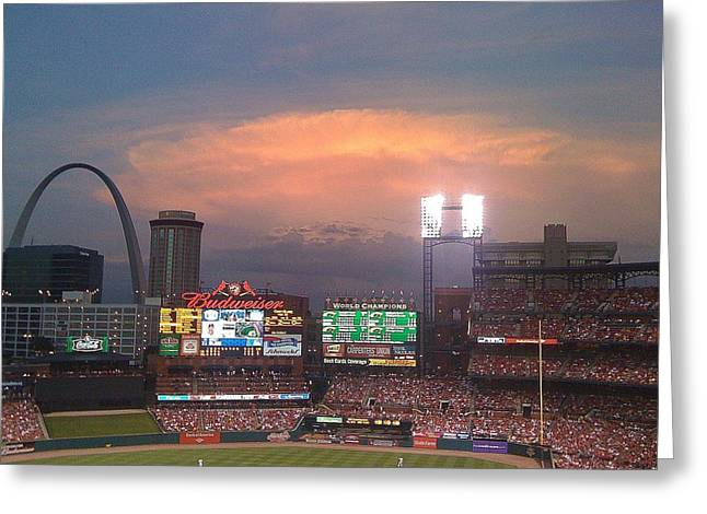 Warm Glow Over St. Louis Arch And Stadium Greeting Card