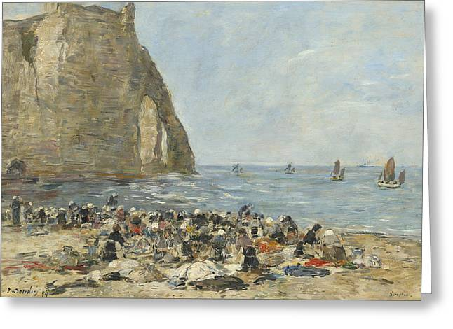 Washerwomen On The Beach Of Etretat Greeting Card by Eugene Boudin