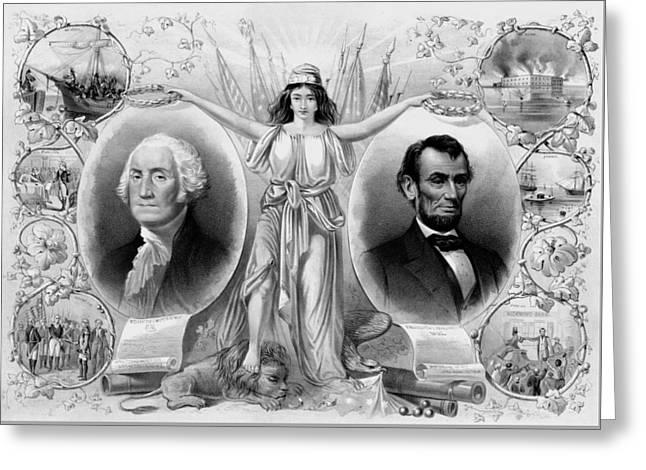 Washington And Lincoln Greeting Card