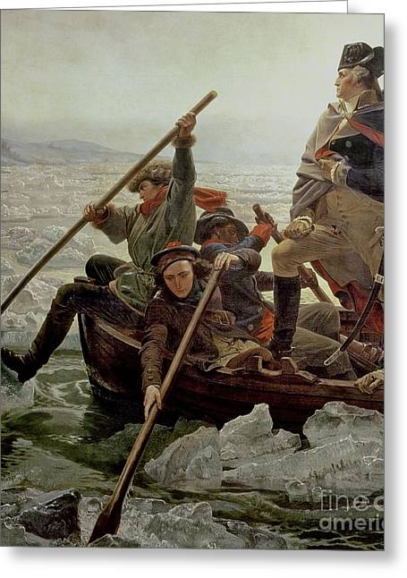 Boats. Water Greeting Cards - Washington Crossing the Delaware River Greeting Card by Emanuel Gottlieb Leutze