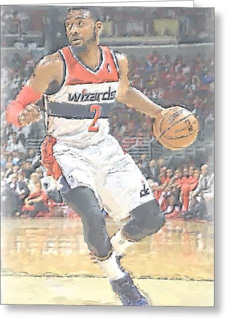 Washington Wizards John Wall Greeting Card by Joe Hamilton
