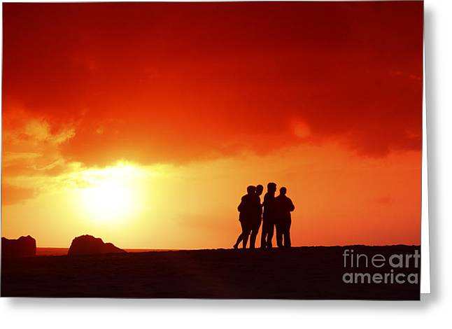 Watching The Sunset Greeting Card by Vince Cavataio - Printscapes