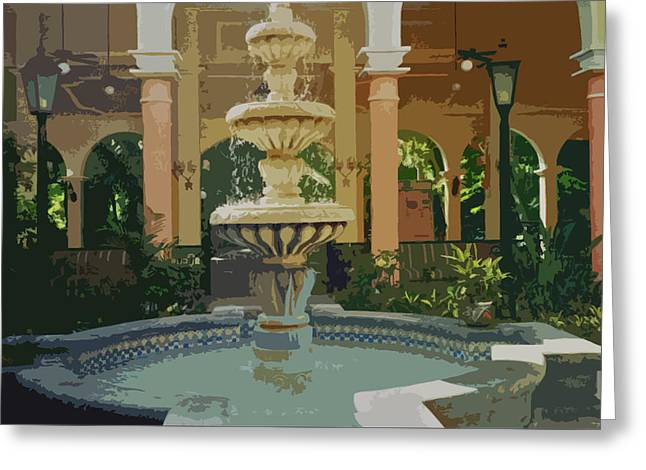 Greeting Card featuring the digital art Water Fountain In Mexico by Tammy Sutherland