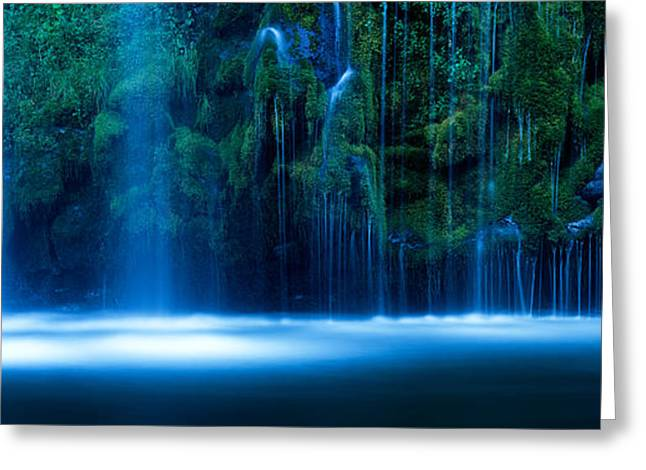 Waterfall In A Forest, Mossbrae Falls Greeting Card by Panoramic Images
