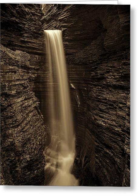 Watkins Glen Cavern Cascade #4 Greeting Card by Stephen Stookey