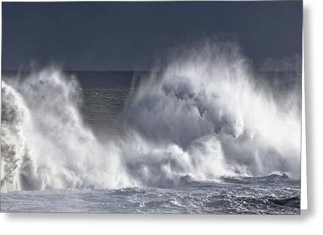 Panoramics Greeting Cards - Waves Crashing On Lighthouse, Seaham Greeting Card by John Short