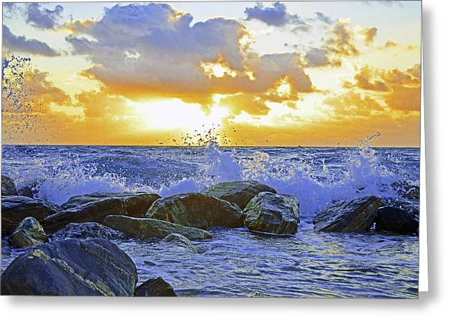 Waves Hit The Rocks Popped  Greeting Card