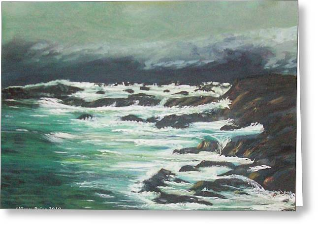 Waves In The Cove Greeting Card by Allison Prior