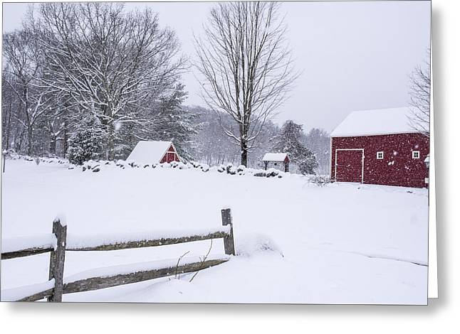 Wayside Inn Grist Mill Covered In Snow Storm Greeting Card by Toby McGuire