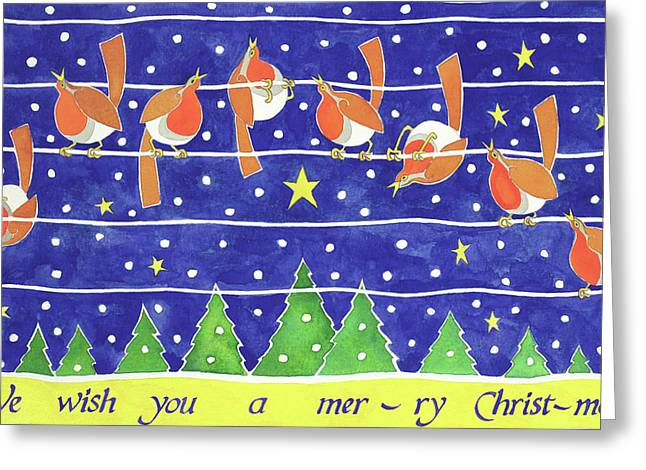 We Wish You A Merry Christmas Greeting Card by Cathy Baxter