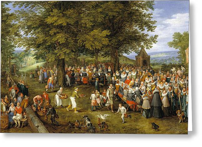 Wedding Banquet Presided Over By The Archduke And Infanta Greeting Card by Jan Brueghel the Elder