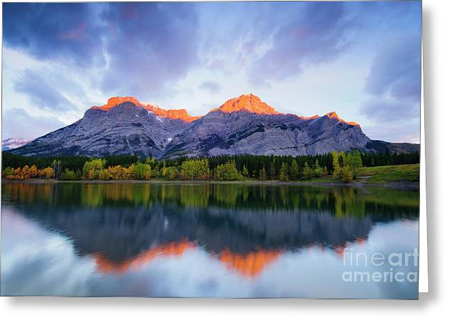 Alberta Water Falls Greeting Cards - Wedge Pond sunrise Greeting Card by Ginevre Smith