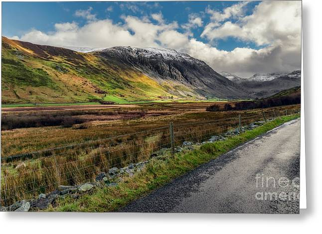 Welsh Valley Greeting Card by Adrian Evans