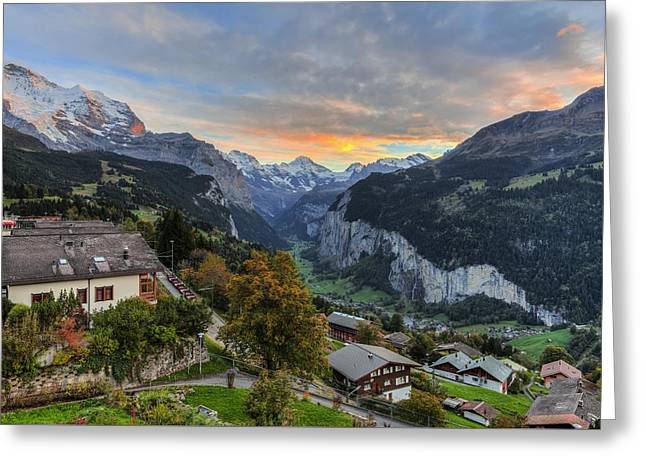 Wengen, Switzerland Greeting Card by Mike Shaw