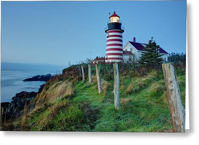 Greeting Card featuring the photograph West Quoddy Head Light by Joe Paul