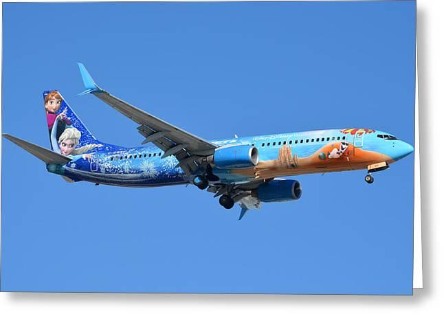 Westjet Boeing 737-8ct C-gwsv Frozen Phoenix Sky Harbor January 29 2016 Greeting Card by Brian Lockett