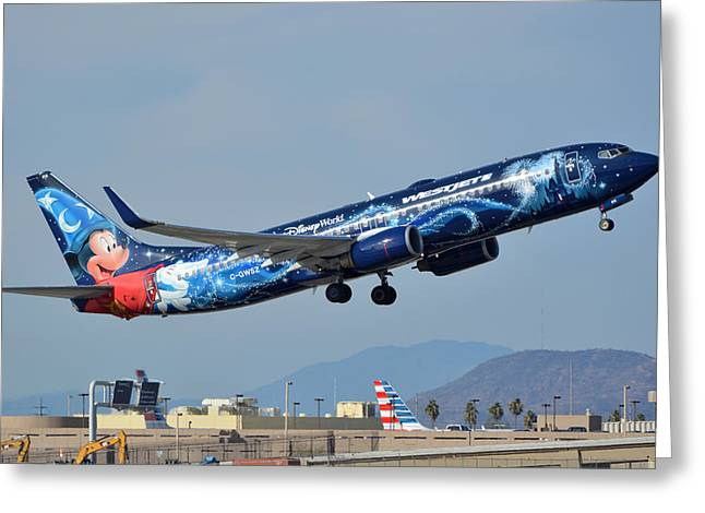 Westjet Boeing 737-8ct C-gwsz Magic Plane Phoenix Sky Harbor January 22 2016 Greeting Card by Brian Lockett