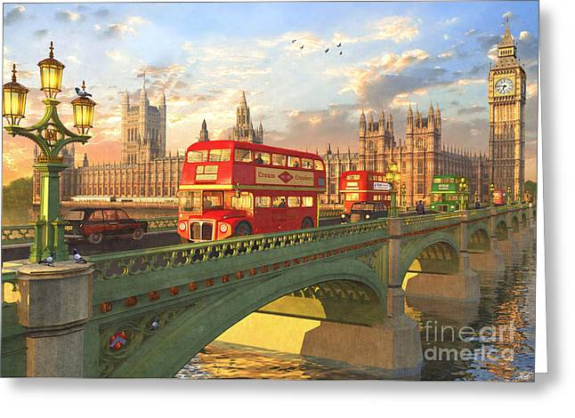 Westminster Bridge Greeting Card by Dominic Davison