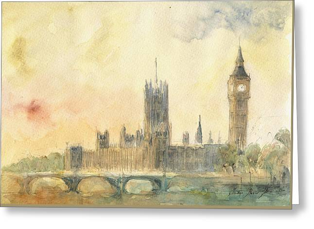 Westminster Palace And Big Ben London Greeting Card by Juan Bosco