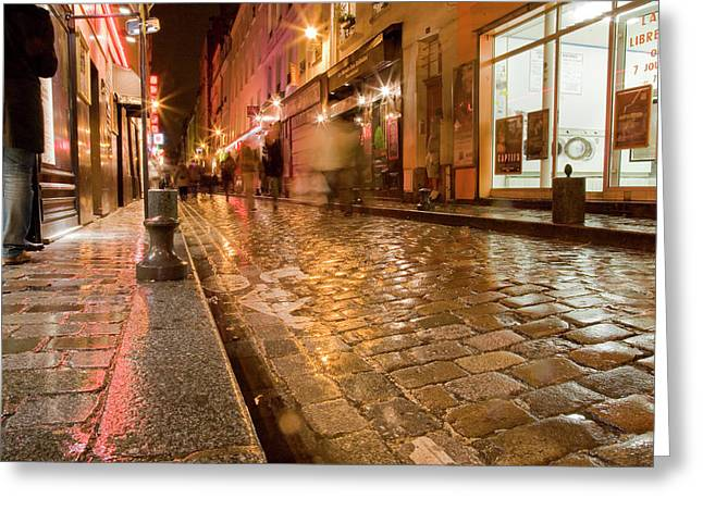 Greeting Card featuring the photograph Wet Paris Street by Matthew Bamberg