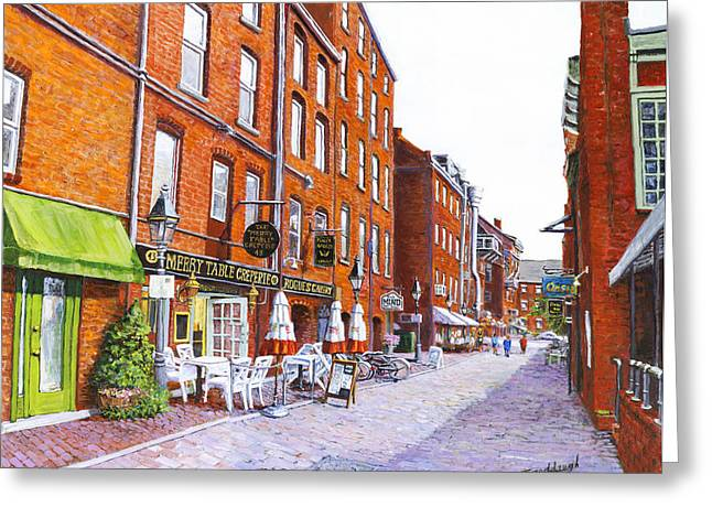Wharf Street Portland Maine Greeting Card by Thomas Michael Meddaugh