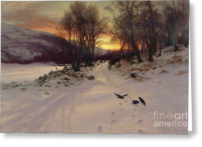 Winter Landscape Paintings Greeting Cards - When the West with Evening Glows Greeting Card by Joseph Farquharson