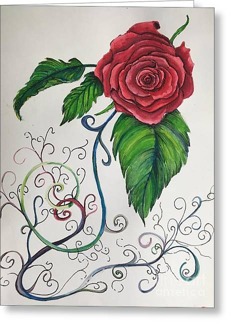 Whimsical Red Rose Greeting Card
