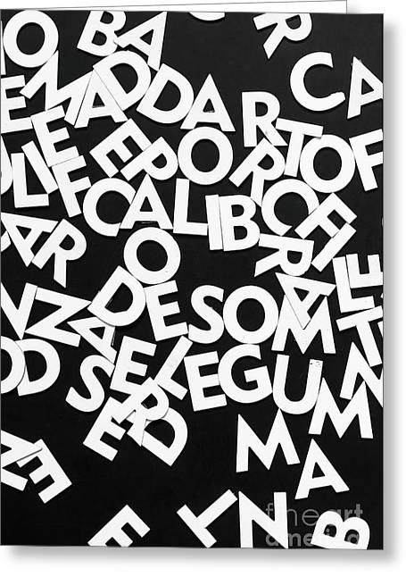 White Alphabet Letters On Blackboard Greeting Card