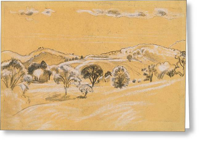 White And Black Chalk Landscape Greeting Card