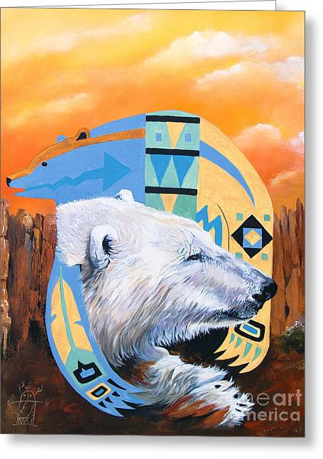 White Bear Goes Southwest Greeting Card by J W Baker
