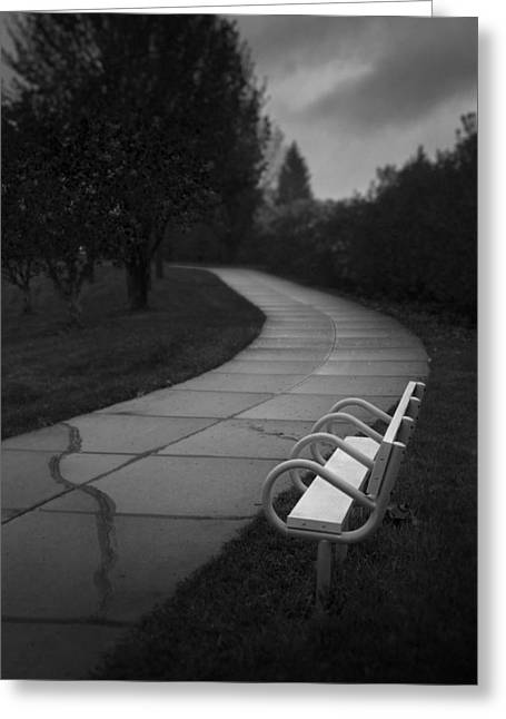 White Bench Black And White Greeting Card