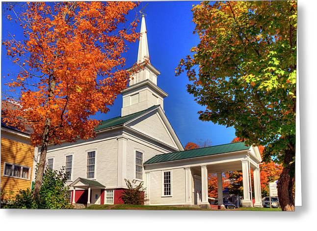Greeting Card featuring the photograph White Church In Autumn by Joann Vitali