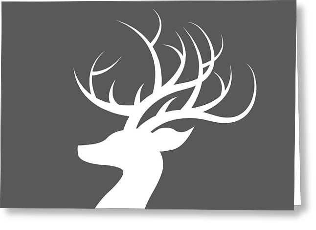 White Deer Silhouette Greeting Card
