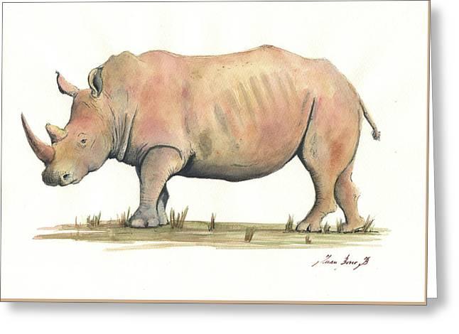 White Rhino Greeting Card by Juan Bosco