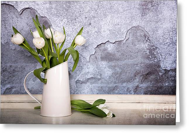 White Tulips Greeting Card by Jane Rix
