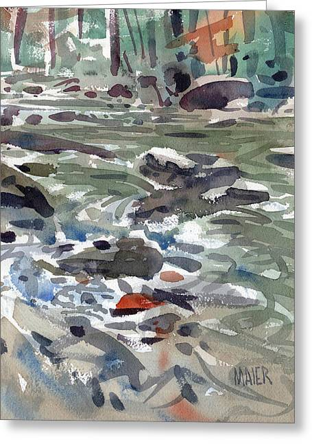 Rapids Greeting Cards - White Water on the White River Greeting Card by Donald Maier