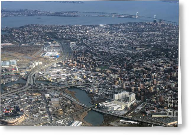 Whitestone Queens Aerial Photo In New York City Greeting Card by David Oppenheimer