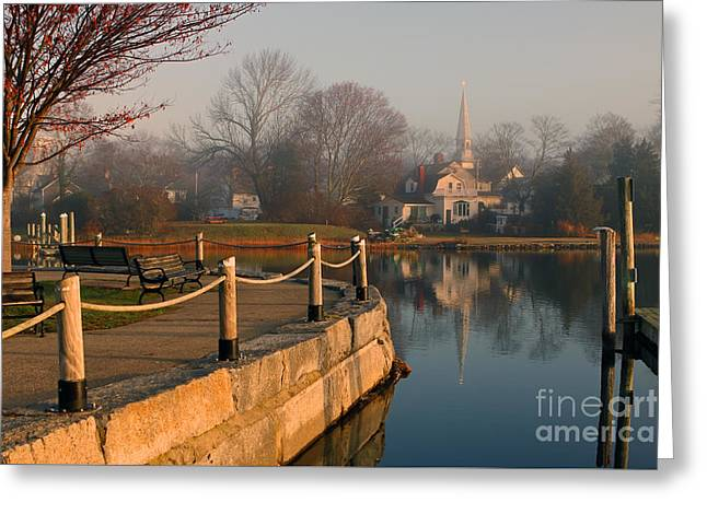 Wickford Harbor Greeting Card by Jim Beckwith