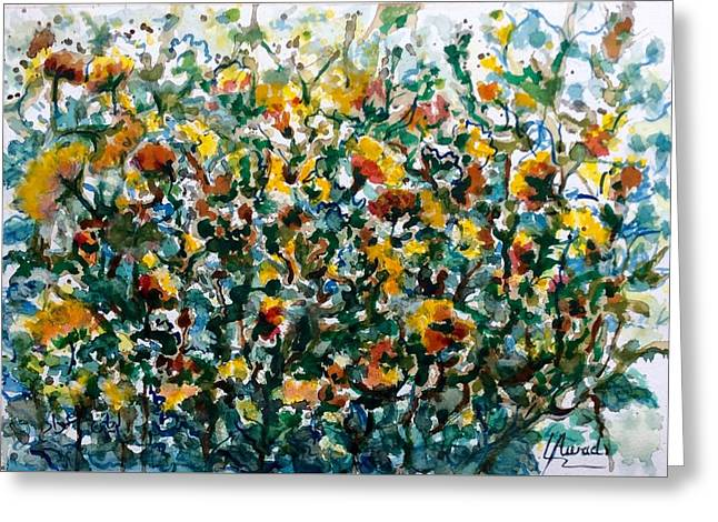 Greeting Card featuring the painting Wild Flowers#3 by Laila Awad Jamaleldin