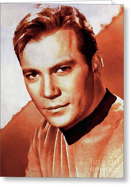 William Shatner Star Trek's Captain Kirk Greeting Card by John Springfield