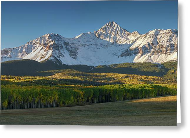 Greeting Card featuring the photograph Wilson Peak Panorama by Aaron Spong