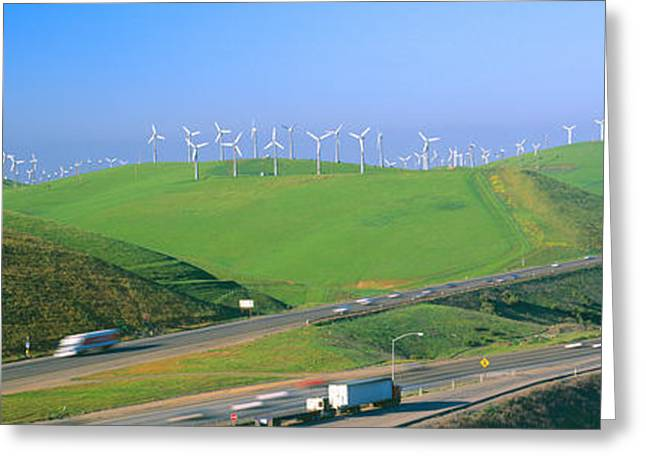 Wind Energy Windmills Along Route 580 Greeting Card by Panoramic Images