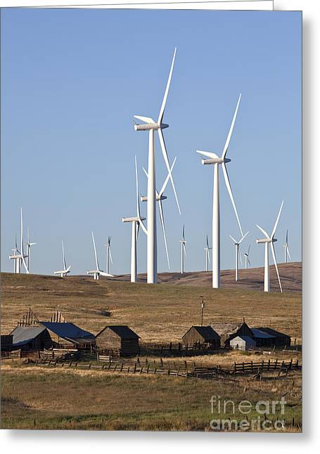 Wind Farm And Old Homestead Greeting Card