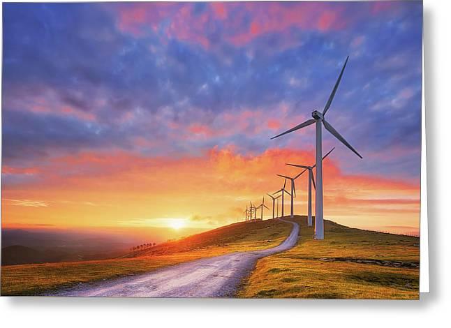 wind turbines in Oiz eolic park Greeting Card